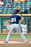 Mark Canha (21) of the New Orleans Zephyrs at bat against the Salt Lake Bees in Pacific Coast League action at Smith's Ballpark on August 27, 2014 in Salt Lake City, Utah.  (Stephen Smith/Four Seam Images)