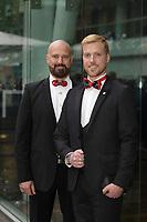 Danniel Oickle, designer ,GUILLOTINE et Yves Therien <br />  au Gala Phenicia de la Chambre de Commerce LGBT du Québec, tenu au Parquet de la Caisse de Depots et Placements du Quebec, jeudi, 26 mai 2016.<br /> <br /> <br /> PHOTO : Pierre Roussel -  Agence Quebec Presse