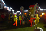 Pictured :  The team of workers assembling the xmas display of marmots at the top of Alton High Street.<br /> <br /> A council which infuriated residents of an affluent market town by replacing the traditional Christmas tree with a giant skiing marmot is set to provoke fury again - by installing TWO of them this year.<br /> <br /> The most controversial festive illumination of 2019 is poised to cause double trouble this time as the two 16 foot models are lit up by thousands of LEDs.<br /> <br /> Last December the installation of a single 'embarrassing' marmot in Alton, Hants sparked arguments, with many locals angry at the council's decision.  SEE OUR COPY FOR FULL DETAILS.<br /> <br /> <br /> © Roger Arbon/Solent News & Photo Agency<br /> UK +44 (0) 2380 458800