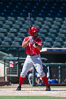 Cincinnati Reds third baseman Leandro Santana (76) at bat during an Instructional League game against the Kansas City Royals on October 2, 2017 at Surprise Stadium in Surprise, Arizona. (Zachary Lucy/Four Seam Images)