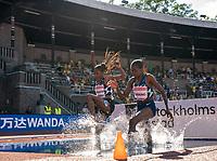 4th July 2021; Stockholm Olympic Stadium, Stockholm, Sweden; Diamond League Grand Prix Athletics, Bauhaus Gala; Cherono and Chepkoech splash into the 3000m steeplechase water