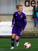 Anderlecht's Charlotte Tisson (20) with the ball during a female soccer game between the women teams of Zulte Waregem B Dames and RSC Anderlecht Ladies on the 1/16 th qualifying round for the Belgian Womens Cup 2020  2021 , on saturday 26 th of September 2020  in Zulte , Belgium . PHOTO SPORTPIX.BE | SPP | SEVIL OKTEM