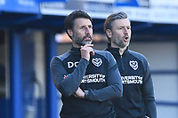 Portsmouth Management team Portsmouth Manager Danny Cowley  left and Assistant  Nicky Cowley during Portsmouth vs Rochdale, Sky Bet EFL League 1 Football at Fratton Park on 2nd April 2021