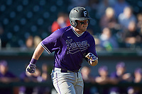 Logan Taplett (7) of the Furman Paladins hustles down the first base line against the Wake Forest Demon Deacons at BB&T BallPark on March 2, 2019 in Charlotte, North Carolina. The Demon Deacons defeated the Paladins 13-7. (Brian Westerholt/Four Seam Images)