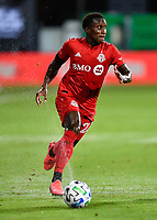 LAKE BUENA VISTA, FL - JULY 26: Richie Laryea of Toronto FC runs with the ball during a game between New York City FC and Toronto FC at ESPN Wide World of Sports on July 26, 2020 in Lake Buena Vista, Florida.