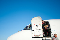 DENVER, CO--Senior Sarah Boothe leaves the plane after arriving in Denver, CO for the 2012 NCAA Women's Final Four.