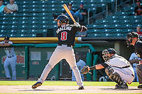 Tim Smalling (8) of the Albuquerque Isotopes at bat against the Salt Lake Bees in Pacific Coast League action at Smith's Ballpark on June 8, 2015 in Salt Lake City, Utah.  The Bees defeated the Isotopes 10-7 in game one of a double-header.(Stephen Smith/Four Seam Images)