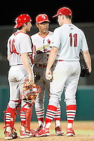 July 13, 2009:  Pitching coach Dennis Martinez of the Palm Beach Cardinals talks with catcher Charlie Cutler and Pitcher Nicholas Additon during a game at Hammond Stadium in Ft. Myers, FL.  Palm Beach is the Florida State League High-A affiliate of the St. Louis Cardinals.  Photo By Mike Janes/Four Seam Images