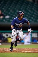 Mississippi Braves third baseman Luis Valenzuela (1) runs to first base during a game against the Montgomery Biscuits on April 24, 2017 at Montgomery Riverwalk Stadium in Montgomery, Alabama.  Montgomery defeated Mississippi 3-2.  (Mike Janes/Four Seam Images)