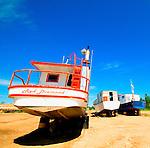 Fishing boat drydocked in Hay River