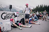 Pierre Rolland (FRA/EF Education-Drapac) needing some recuperation time after finishing<br /> <br /> Stage 7: Moûtiers > Saint-Gervais Mont Blanc (129km)<br /> 70th Critérium du Dauphiné 2018 (2.UWT)