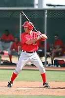 Taylor Lindsey #58 of the Los Angeles Angels plays in a minor league spring training game against the Colorado Rockies at the Angels minor league complex on March 18, 2011  in Tempe, Arizona. .Photo by:  Bill Mitchell/Four Seam Images.