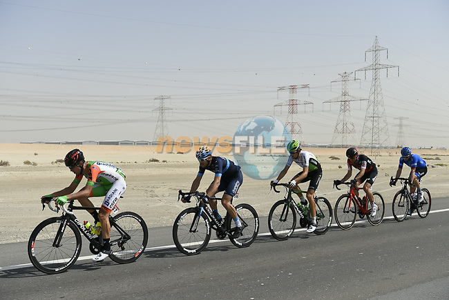 The breakaway group in action during Stage 2 of the 2018 Abu Dhabi Tour, Yas Island Stage running 154km from Yas Mall to Yas Beach, Abu Dhabi, United Arab Emirates. 22nd February 2018.<br /> Picture: LaPresse/Fabio Ferrari | Cyclefile<br /> <br /> <br /> All photos usage must carry mandatory copyright credit (© Cyclefile | LaPresse/Fabio Ferrari)