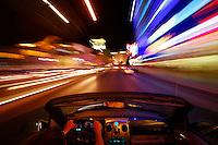 Driving down The Strip at night, Las Vegas, Nevada.