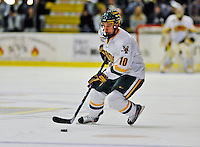 16 November 2008: University of Vermont Catamount forward Colin Vock, a Junior from Detroit, MI, in action against the Merrimack College Warriors at Gutterson Fieldhouse, in Burlington, Vermont. The Catamounts defeated the Warriors 2-1 in front of a near-capacity crowd of 3,813...Mandatory Photo Credit: Ed Wolfstein Photo