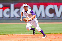 Third baseman Austin Yount #4 of the Winston-Salem Dash on defense against the Wilmington Blue Rocks at BB&T Ballpark on April 24, 2011 in Winston-Salem, North Carolina.   Photo by Brian Westerholt / Four Seam Images