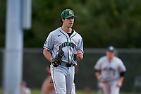 Dartmouth Big Green pitcher Max Hunter (19) pumps his fist after closing out a game against the Omaha Mavericks on February 23, 2020 at North Charlotte Regional Park in Port Charlotte, Florida.  Dartmouth defeated Omaha 8-1.  (Mike Janes/Four Seam Images)