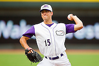 Winston-Salem Dash starting pitcher Spencer Arroyo #15 in action against the Wilmington Blue Rocks at BB&T Ballpark on June 10, 2012 in Winston-Salem, North Carolina.  The Dash defeated the Blue Rocks 2-0.  (Brian Westerholt/Four Seam Images)