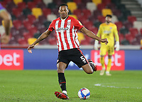 Ethan Pinnock of Brentford in action during Brentford vs Bristol City, Sky Bet EFL Championship Football at the Brentford Community Stadium on 3rd February 2021