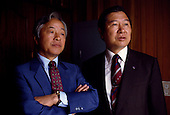 """Seoul, South Korea<br /> 1987<br /> <br /> Opposition leaders Kim Young Sam and Kim Dea-jong.<br /> <br /> Kim Dae-jung (3 December 1925 to 18 August 2009) was President of South Korea from 1998 to 2003, and the 2000 Nobel Peace Prize recipient. As of this date Kim is the first and only Nobel laureate to hail from Korea. A Roman Catholic since 1957, he has been called the """"Nelson Mandela of Asia"""" for his long-standing opposition to authoritarian rule."""