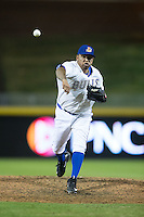 Durham Bulls relief pitcher Ronald Belisario (41) in action against the Scranton/Wilkes-Barre RailRiders at Durham Bulls Athletic Park on May 15, 2015 in Durham, North Carolina.  The RailRiders defeated the Bulls 8-4 in 11 innings.  (Brian Westerholt/Four Seam Images)