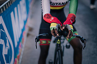 John Briton (GUY) after finishing<br /> <br /> MEN JUNIOR INDIVIDUAL TIME TRIAL<br /> Hall-Wattens to Innsbruck: 27.8 km<br /> <br /> UCI 2018 Road World Championships<br /> Innsbruck - Tirol / Austria