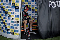 2nd place finisher Florian Vermeersch (BEL/Lotto Soudal) awaiting the podium ceremony<br /> <br /> 118th Paris-Roubaix 2021 (1.UWT)<br /> One day race from Compiègne to Roubaix (FRA) (257.7km)<br /> <br /> ©kramon