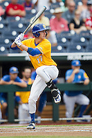 UC Santa Barbara Gauchos shortstop Clay Fisher (17) at bat against the Miami Hurricanes in Game 5 of the NCAA College World Series on June 20, 2016 at TD Ameritrade Park in Omaha, Nebraska. UC Santa Barbara defeated Miami  5-3. (Andrew Woolley/Four Seam Images)