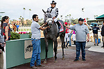 ARCADIA, CA  FEBRUARY 22: #11 Keeper Ofthe Stars, ridden by Abel Cedillo, in the winners circle after winning the Buena Vista Stakes (Grade ll) on February 22, 2020 at Santa Anita Park in Arcadia, CA.