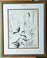 BNPS.co.uk (01202 558833)<br /> Pic: PhilYeomans/BNPS<br /> <br /> Sold for 5200 pounds - Cecil Beaton sketch of Christian Dior, in his studio 1953<br /> <br /> A remarkable 'timewarp' archive amassed by a dressmaker to the Queen has sold for over £100,000.<br /> <br /> The late Ian Thomas meticulously kept his fashion designs, letters, cards and photographs relating to the Queen at his home that was more like a museum. <br /> <br /> He helped design the Queen's coronation gown in 1953 as well as the powder blue outfit she wore for Charles and Diana's wedding in 1981.<br /> <br /> The lifelong bachelor passed away in 1993 and left his home and its contents to a florist he had been good friends with for 25 years.<br /> <br /> After she died in 2015 the property was inherited by a relative who also knew Mr Thomas well.<br /> <br /> She has now sold the contents at auction.