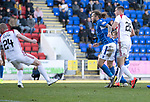 St Johnstone v Hamilton Accies…26.10.19   McDiarmid Park   SPFL<br />David Wotherspoon scores to make it 1-1<br />Picture by Graeme Hart.<br />Copyright Perthshire Picture Agency<br />Tel: 01738 623350  Mobile: 07990 594431