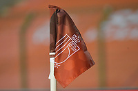 illustration picture of the corner flag with the RBFA logo pictured during a friendly female soccer game between the national teams of Belgium , called the Red Flames and The Netherlands , called the Oranje Leeuwinnen in a pre - bid tournament called Three Nations One Goal with the national teams from Belgium , The Netherlands and Germany towards a bid for the hosting of the 2027 FIFA Women's World Cup , on Thursday 18 th of February 2021  in Brussels , Belgium . PHOTO SPORTPIX.BE | SPP | DIRK VUYLSTEKE