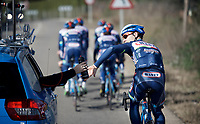 Antoine Demoitié (BEL/Wanty-Groupe Gobert) getting a bidon from the support car<br /> <br /> Pro Cycling Team Wanty-Groupe Gobert <br /> <br /> Pre-season Training Camp, january 2016