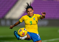 ORLANDO, FL - FEBRUARY 18: Debinha #9 of Brazil controls the ball during a game between Argentina and Brazil at Exploria Stadium on February 18, 2021 in Orlando, Florida.