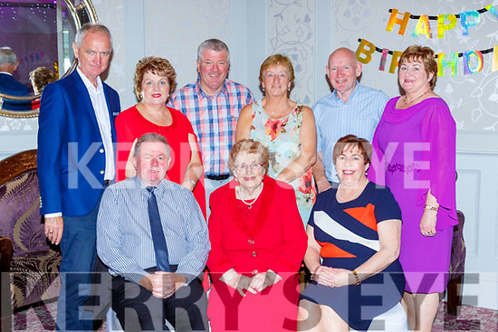 Mary O'Donoghue, Two Mile School Killarney celebrated her 90th birthday with her family and friends in the Dromhall Hotel on Sunday front row l-r: Pat and Mary O'Donoghue Joan O'Leary. Back row: Michael and Eileen Quirke, John O'Leary, Sheila O'Donoghue, Donal and Bernie McCarthy