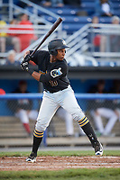 West Virginia Black Bears first baseman Julio De La Cruz (10) at bat during a game against the Batavia Muckdogs on June 26, 2017 at Dwyer Stadium in Batavia, New York.  Batavia defeated West Virginia 1-0 in ten innings.  (Mike Janes/Four Seam Images)
