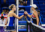 Ashleigh Barty of Australia (R) shakes hand with Anastasia Pavlyuchenkova of Russia (L) after winning the singles Round Robin match of the WTA Elite Trophy Zhuhai 2017 at Hengqin Tennis Center on November  01, 2017 in Zhuhai, China.Photo by Yu Chun Christopher Wong / Power Sport Images