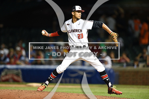 Anthony Molina (23) of Somerset Academy in Pembroke Pines, Florida during the Under Armour All-American Game on August 16, 2014 at Wrigley Field in Chicago, Illinois.  (Mike Janes/Four Seam Images)