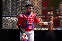 Philadelphia Phillies catcher Edward Barboza (4) during an Extended Spring Training game against the Toronto Blue Jays on June 12, 2021 at the Carpenter Complex in Clearwater, Florida. (Mike Janes/Four Seam Images)