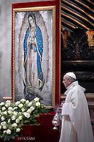Pope Francis  Mass Lady of Guadalupe in St. Peter's Basilica at the Vatican 12.december 2016
