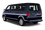 Car pictures of rear three quarter view of 2020 Volkswagen Caravelle Highline 5 Door Passenger Van Angular Rear