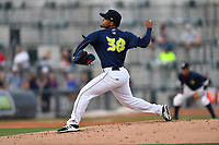 Pitcher Merandy Gonzalez (38) of the Columbia Fireflies delivers a pitch in a game against the Lexington Legends on Friday, April 21, 2017, at Spirit Communications Park in Columbia, South Carolina. Columbia won, 5-0 and Gonzalez (3-0) got the win.(Tom Priddy/Four Seam Images)