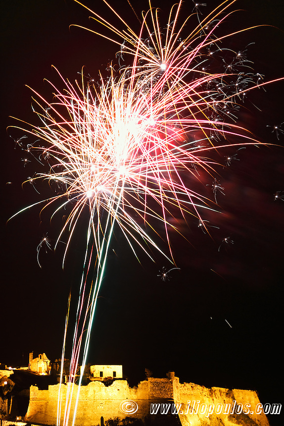 The celebration of the Resurrection with fireworks at the castle of Chora in Kythera, Greece
