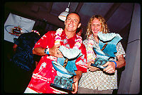 Waimea Valley, North Shore, Oahu , Hawaii. December 2000.<br /> The 1980  to 1989 Pipeline Masters Champions were present with their iconic Gerry Lopez Pipeline Trophies as part of the Opening Ceremony of the 2000 Pipeline Masters at the Waimea Valley Park. The past champions included Mark MR Richards (AUS), Michael Ho (HAW),  Derek Ho (HAW), Simon Anderson (AUS), Tom Carroll (AUS), Robbie Page (AUS), Dane Kealoha (HAW), Mark 'Occy' Occhilupo (AUS) and Joey Buran (USA).<br /> <br /> Photo: joliphotos