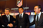 Atletico de Madrid's new coach Abel Resino with the president Enrique Cerezo and director Jesus Garcia Pitarch during his presentation.
