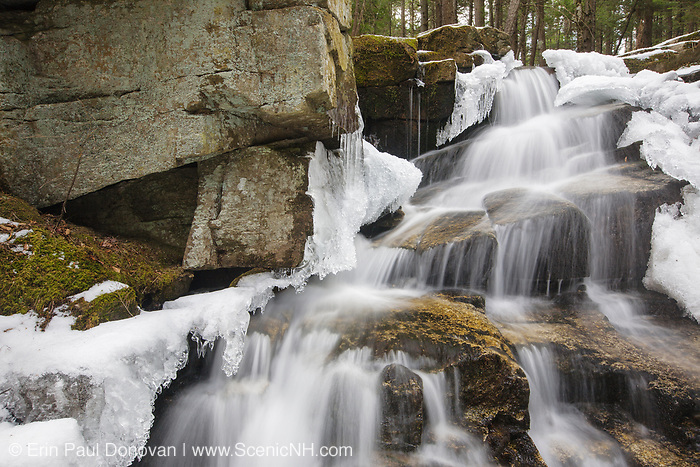 Stair Falls along Bumpus Brook in Randolph, New Hampshire during the spring months. The Howker Ridge Trail travels next to Bumpus Brook.