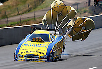 Jul. 21, 2013; Morrison, CO, USA: NHRA funny car driver Matt Hagan during the Mile High Nationals at Bandimere Speedway. Mandatory Credit: Mark J. Rebilas-