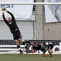 Chris Seitz and  unknown in the 4-1  Santos Laguna win at Rice Eccles Stadium in Salt Lake City, Utah on  July 9, 2008.