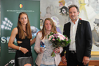"""20160605 – OOSTENDE , BELGIUM :  winner of """" player with the most scored goals in first division"""" Lucinda Michez pictured during the 2nd edition of the Sparkle award ceremony together with Tessa Wullaert (L) and Kris Vanderhaegen (R) , Sunday 5 June 2016 , in Oostende . The Sparkle  is an award for the best female soccer player during the season 2015-2016 comparable to the Golden Shoe or Boot / Gouden Schoen / Soulier D'or for Men in Belgium . PHOTO SPORTPIX.BE / DIRK VUYLSTEKE"""