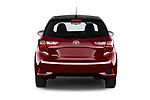 Straight rear view of a 2018 Toyota Yaris Two tone 5 Door Hatchback stock images